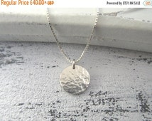 ll SALE ll Small Hammered Sterling Silver Disc Necklace - Silver Circle Necklace - Silver Disc Pendant - Layering Necklace - Textured Disc P