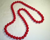 """Lipstick Red Lucite Bead Necklace ,Screw together Clasp 30"""""""