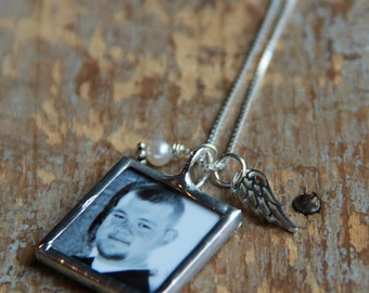 Angel Wing Custom Photo Necklace, Remembrance Gift, In Memory, Loss of Child Necklace, Memorial Photo Charm, Remembrance Jewelry