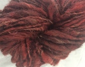 Icelandic mix red wool handspun bulky weight single ply 70 yards permaculture iowa farm rare breed organic