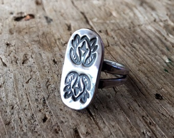 Totem ring, recycled  sterling silver, handmade ring.  Various sizes made to order.