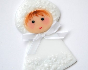 Snow Baby, Christmas Ornament, Baby's First Christmas, Glass Ornament, Handmade, Glass Decoration, CGGE, 074