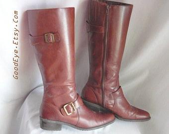 Vintage Flat HARNESS Boots size 7 M Leather Zipper Knee Riding Boots Eu 37 .5 UK 4 .5 Dark Brown BRAZIL Naturalizer