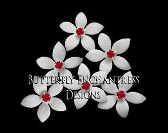Wedding Hair Flowers, Bridal Hair Accessories, White Ivory Bridesmaid Gift - 6 Thea Jasmine Bridal Hair Pins - Red Rhinestone Centers