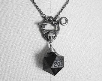 Skull Lock: Dungeons and Dragons D20 Necklace, skull, gunmetal, pad lock, silver, black, key
