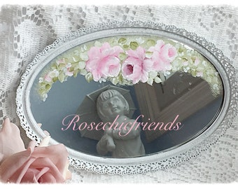 Vintage Mirror Vanity TRAY Hand Painted Pink Roses Shabby Chic ECS sct schteam