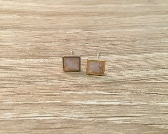 Mini square stud earrings with crushed mother of pearl