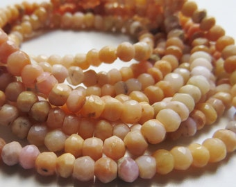 3mm Faceted Peach Moonstone Rondelle Beads - One Full Strand