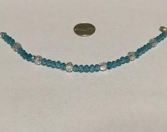 Blue and clear Swarovski crystal 4mm      bracelet