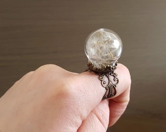 Dandelion wish ring, Make a Wish botanical seed ring, statement antique bronze filigree ring