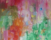 Abstract fine art, bright colourful Summer painting, sweet pink, juicy orange, cool green wall art