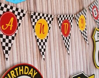 VINTAGE RACING Party Bunting Flags - DIY Printable - Customised pdf