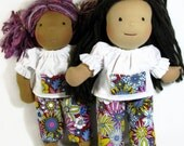 Bold floral 14, 15 inch Waldorf Clothes, white cotton pocket top, doll clothing