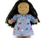 14 inch, 15 inch, 16 inch Waldorf doll dress,  Winter scene toy clothing, ice skaters doll dress