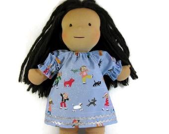 14, 15, 16 inch Waldorf doll dress,  Winter scene ice skaters doll dress