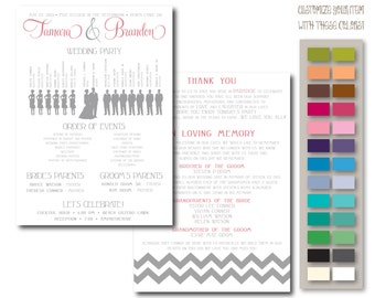 Chevron Wedding Program, Timeline, and Signs // Ceremony and Reception Decor // Paper Goods // DIGITAL