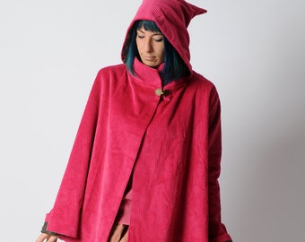 Pink cord cape, Hot pink hooded cape in wide corduroy, Fall fashion, Goblin Hood Cape with flared sleeves sz Uk 12