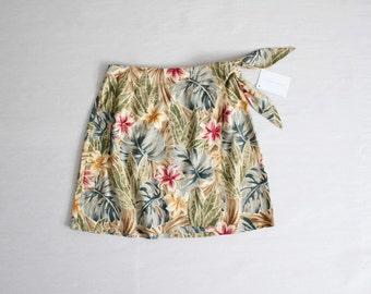 linen wrap skirt | tropical floral skirt