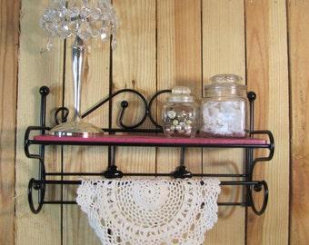 Shelf and Towel Rod Hot Pink and Black Paris Decor Girls Room Bath