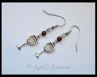 Red Red Wine Beaded Dangle Charm Earrings with Brecchiated Jasper