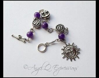 Khaleesi My Sun, My Moon Celestial Beaded Link Bracelet in Purple