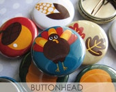 Thanksgiving Buttons - 1 Inch Pinback (Set of 10) - Thanksgiving Favors - Thanksgiving Favor Bags - Thanksgiving Crafts