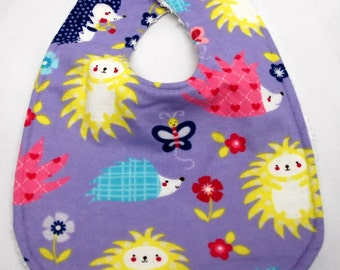 Baby Girl Bib, Baby Shower Gift, Welcome Baby Gift:  Colorful Hedgehogs on Purple