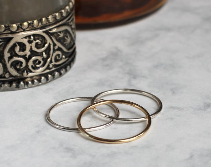Mixed Metal Stacking or Midi Rings - Gold Fill and Sterling Silver