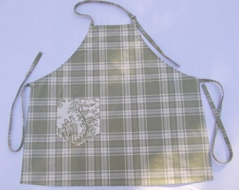 Apron plaid check Toile cotton decorator fabric green and cream color long ties adjustable neck loop one large pocket preshrunk