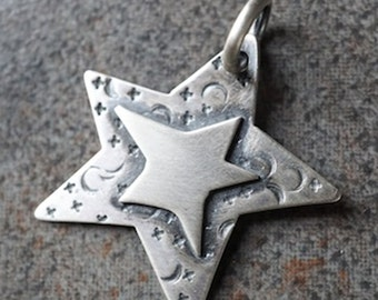 CS15 - Everybody is a Star Charm by SeverinMetals - Sterling Silver Star Charm Pendant