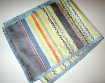 Jones New York Silk Scarf - Vintage 90's - 10 x 52 inches - Pastel Blue, Yellow, Salmon Stripe and Abstract Print