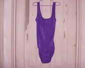 Vintage one piece Swimsuit bright purple Catalina zig zag, linear pattern plunging back | Classic Traditional, pin up, rockabilly, resort