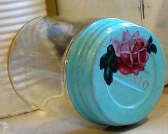 salvaged antique vintage specimen jar presto lid shabby chic cottage pastel aqua green pink rose distressed mason cap glass doctor vessel