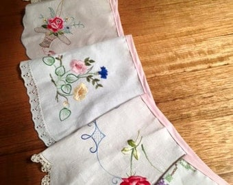 Shabby Chic - Upcycled Vintage Embroidered Pretty Doily Bunting Flags Banner
