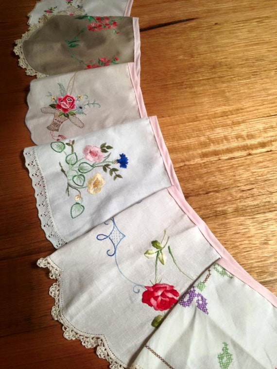 Shabby chic upcycled vintage embroidered pretty doily
