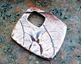 Copper Oak Leaf Impression Pendant, Unique Focal Pendant, Rustic Nature Pendant, Oak Leaf Imprint, OOAK