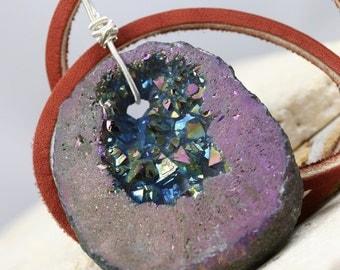 Druzy Necklace- Druzy Pendant - Wire Wrapped Pendant - Wire Wrapped Necklace - Gemstone Necklace - Gemstone Pendant - Multi-Colored Pendant