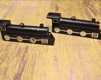 "Free Shipping Vintage wood Train Toy lot of 2 for assemblage projects 3"" long"