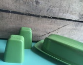 Avacado Green Melamine Salt and Pepper Shakers and Butter Dish, Boho, Camping, Picnic, Unmarked, Vintage