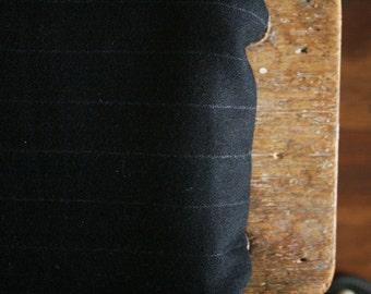 WOOL FABRIC / dark navy / stripes / italy / australia / wool remnant