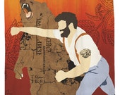 Haymaker, Man Punching Bear, Shower Curtain, Hooks Included