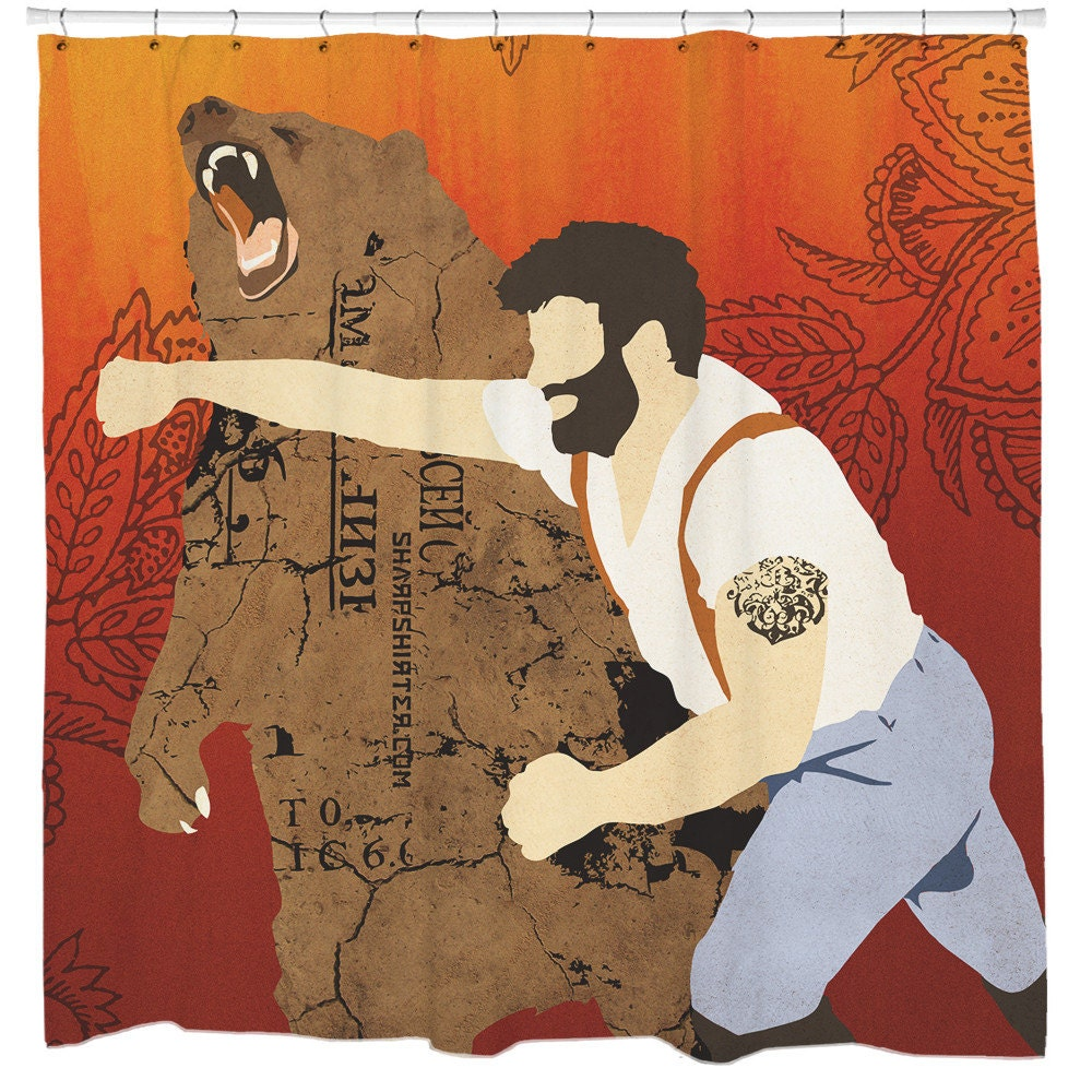 Haymaker Man Punching Bear Shower Curtain Hooks Included
