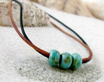 Leather and Bead Necklace - Layering Necklace - Glass Bead and Leather Necklace - Turquoise Bead Necklace - Blue and Teal Series