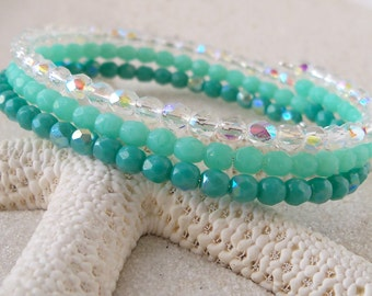 Glass Beaded Bracelet - Bead Bracelet - Memory Wire Bracelet - Summer Beaded Bracelet - Teal and Clear Bracelet - Gift for Women
