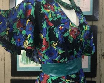 Sale 1980s ruffled dress 80s floral dress size small medium Vintage tiered dress Barbara Barbara