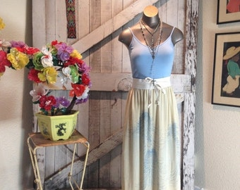 On sale Vintage silk skirt 1920s art deco fabric 20s reconstructed kimono size medium