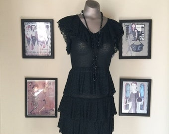 1980s knit set 80s dress crochet skirt and top size small Vintage dress set skirt and peplum top