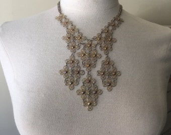 Fall sale 1980s necklace bib necklace filigree necklace statement necklace vintage necklace costume jewelry