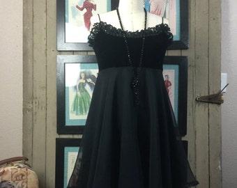 Fall sale 1990s babydoll dress 90s chiffon dress size small Vintage dress black empire waist dress
