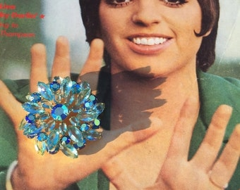 Fall sale 1950s statement brooch 50s aqua brooch blue pin Vintage costume jewelry